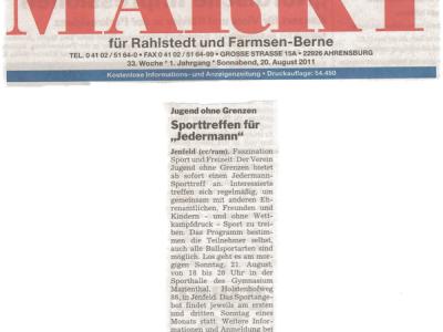 Pressebeicht MARKT Rahlstedt Sportreff am Sonntag