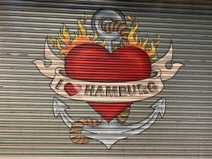heart mural on roller shutter